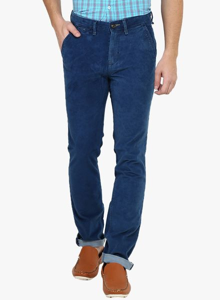 Buy Red Flame Blue Solid Regular Fit Trouser for Men Online India, Best Prices…