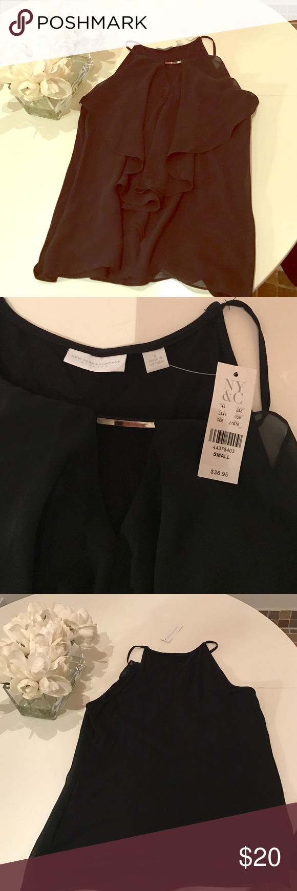 New romantic black top Ny&c romantic black top..running for summer and for winter time with a jacket..size S with gold jewel detail. Retail $36 sealing for cheaper or best offer ny&c Tops