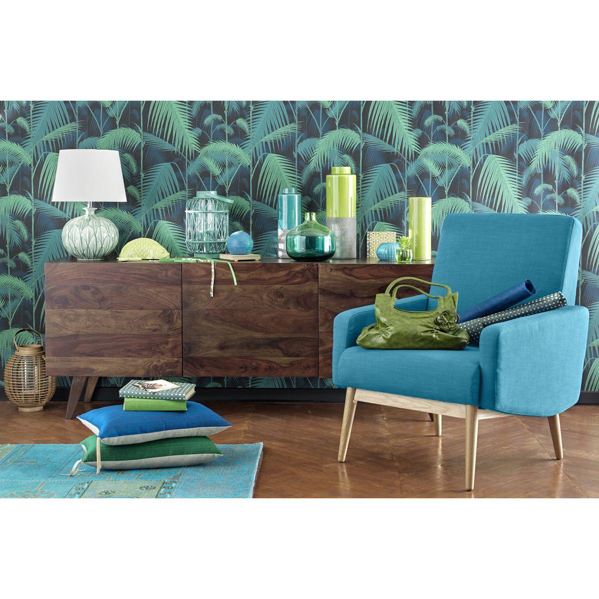 Fauteuil vintage en tissu bleu pétrole | House