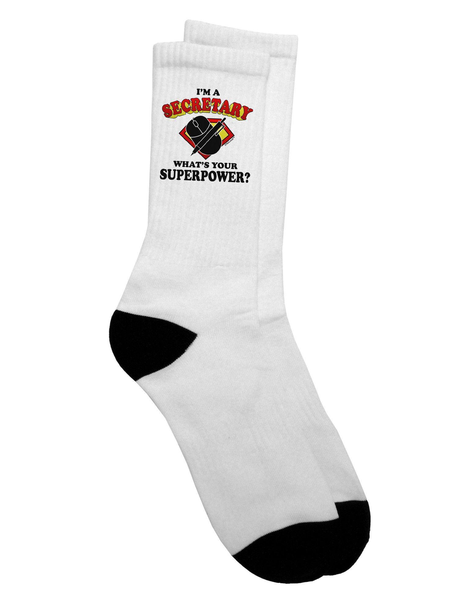 TooLoud Secretary - Superpower Adult Crew Socks