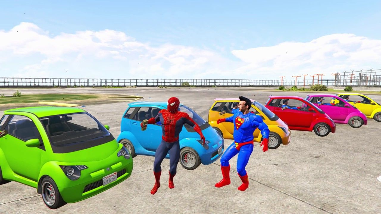 Learn Colors For Children With Spiderman Small Cars Colours Fo