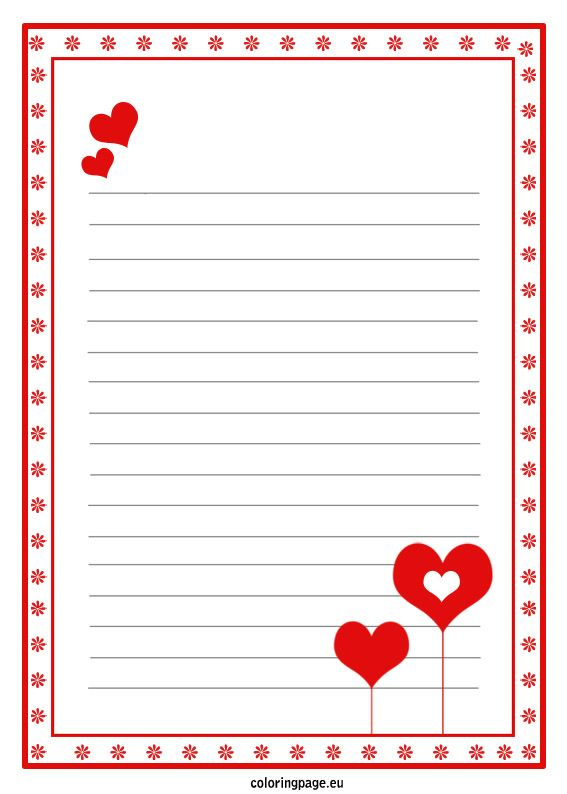 Love letter paper template Valentines Day – Templates for Love Letters