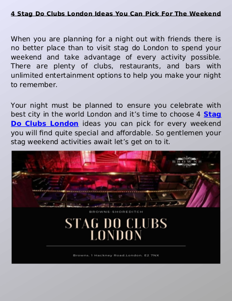 Find To Stag Do Clubs For London Night Out? Browns