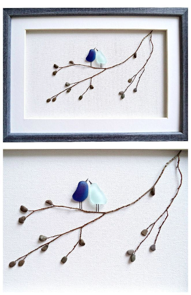 Sea Glass Art Love Birds Anniversary Gift For Wife Or Girlfriend