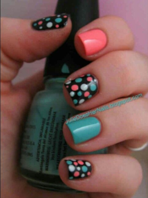 Dots Solid Chic Pinterest Uñas Coral Coral Y Negro