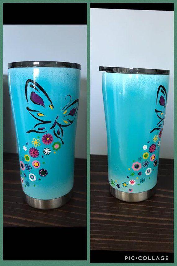 67c37209084 Custom butterfly tumbler | Products | Tumbler, Custom tumblers ...