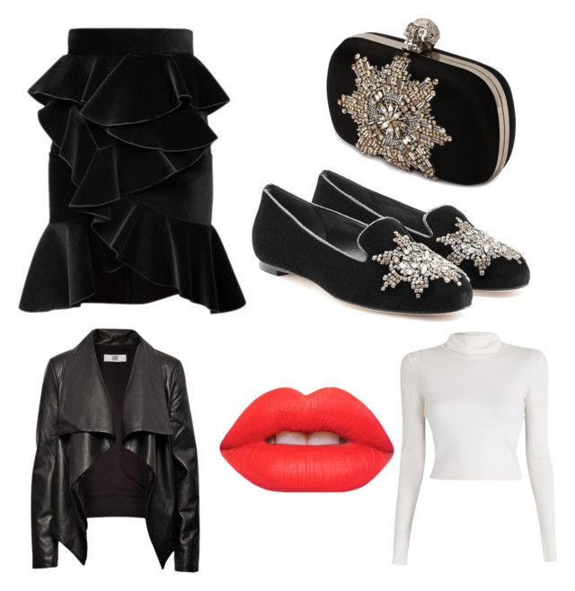 """""""Bling n' frills"""" by caughtoureye on Polyvore featuring Alexander McQueen, Balmain, A.L.C., HIDE and Lime Crime"""