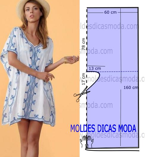 Resultado de imagen para Vestido playero modelo túnica con patrones