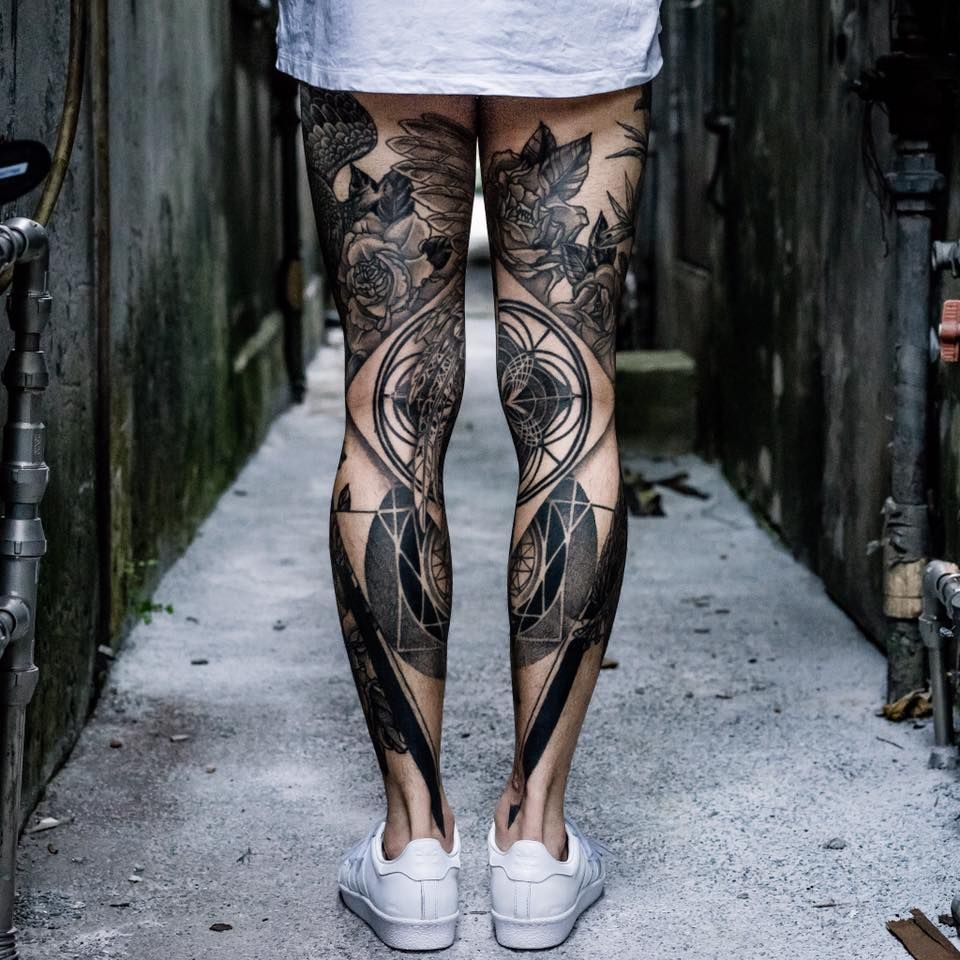 Blackwork Leg Sleeve Tattoo