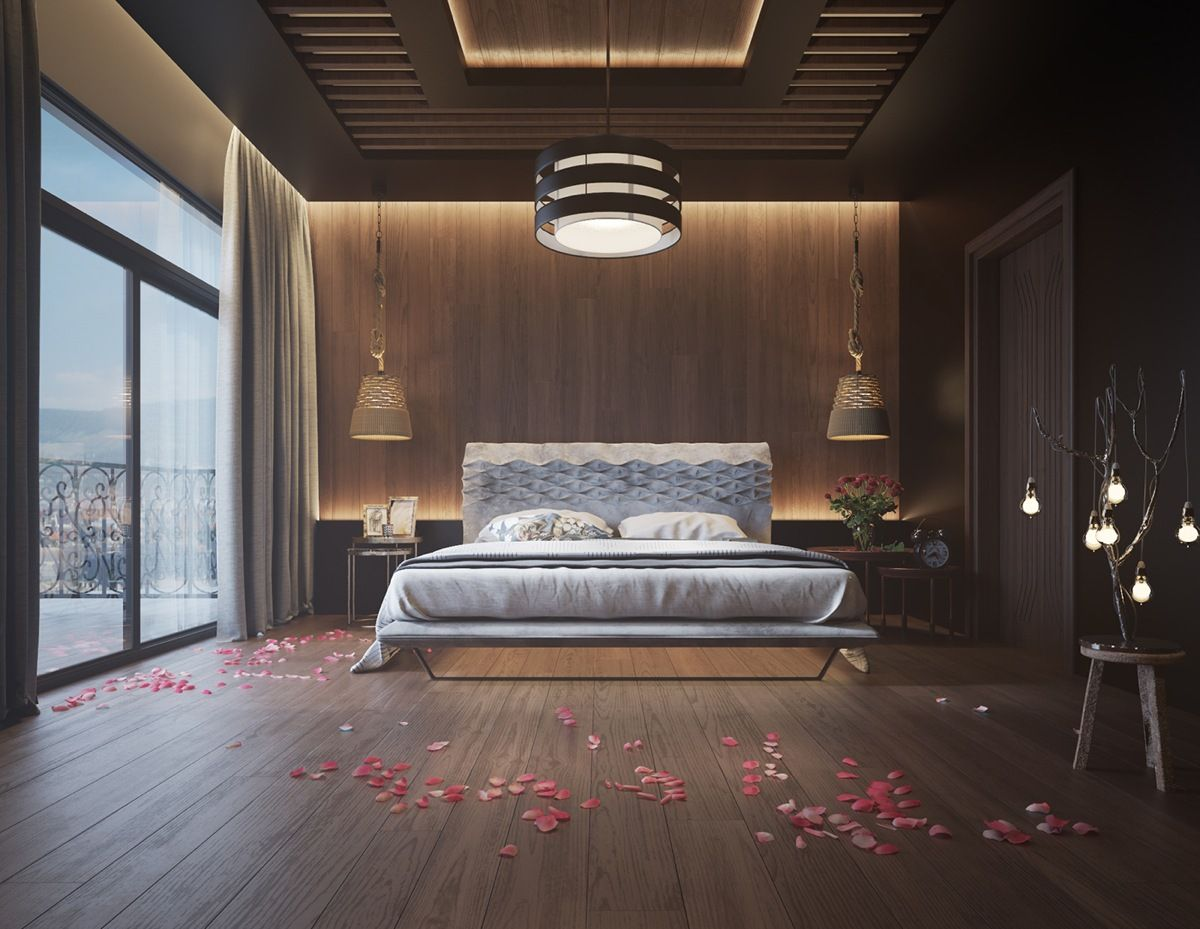 11 Ways To Make A Statement With Wood Walls In The Bedroom Ceiling Design Bedroom Unique Bedroom Design Wood Walls Bedroom