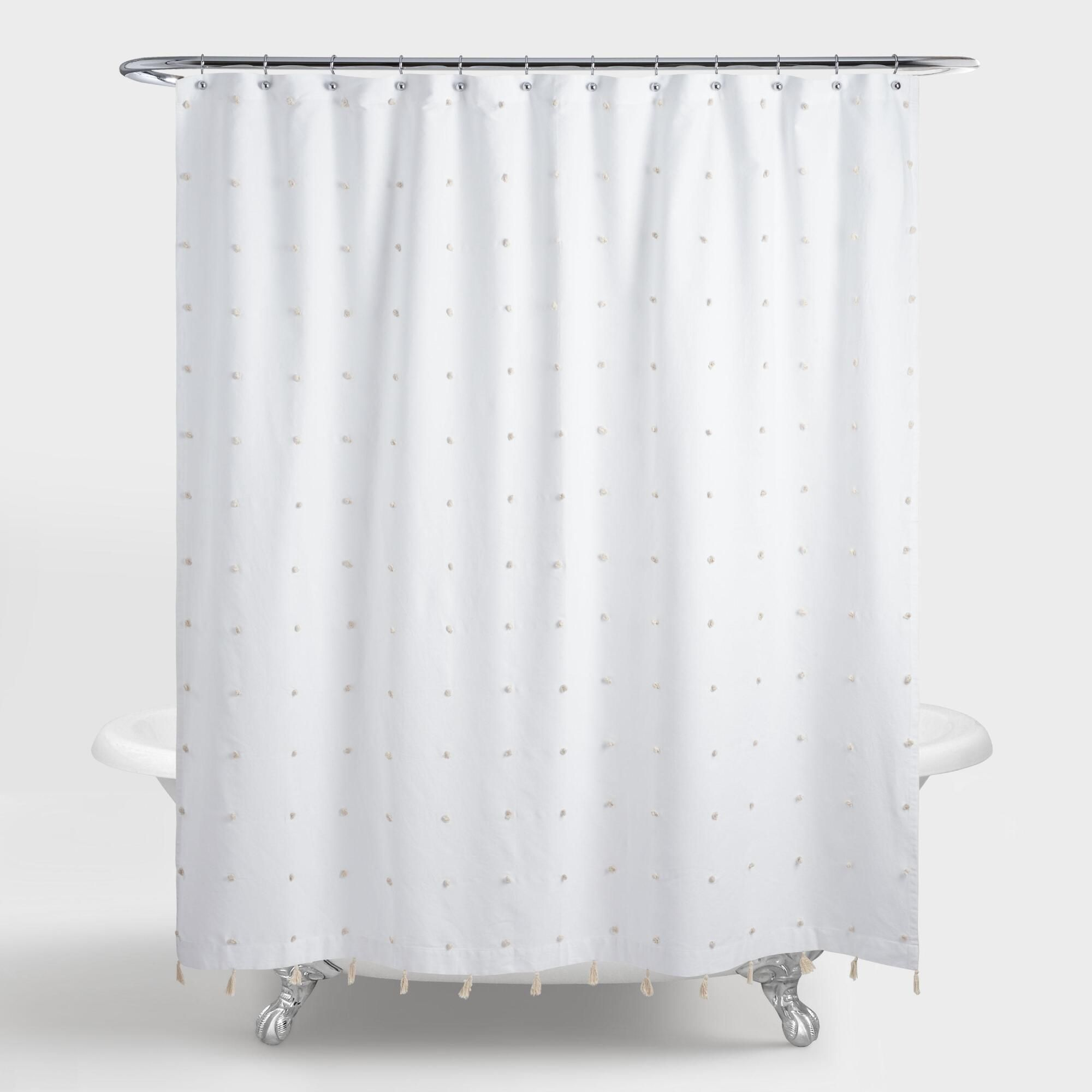 White And Ivory Embroidered Pom Pom Ellie Shower Curtain By World