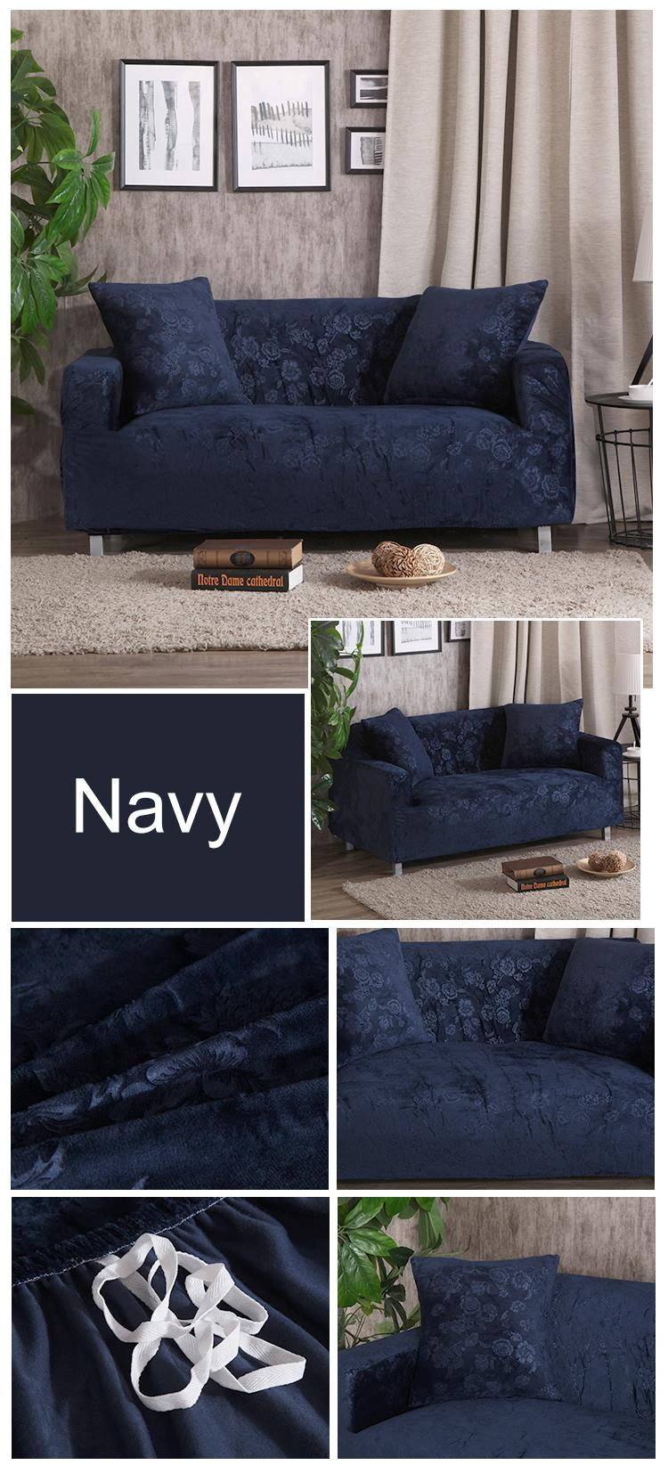 Velvet Fabric Embroidered Armless Sofa Bed Cover in 2020