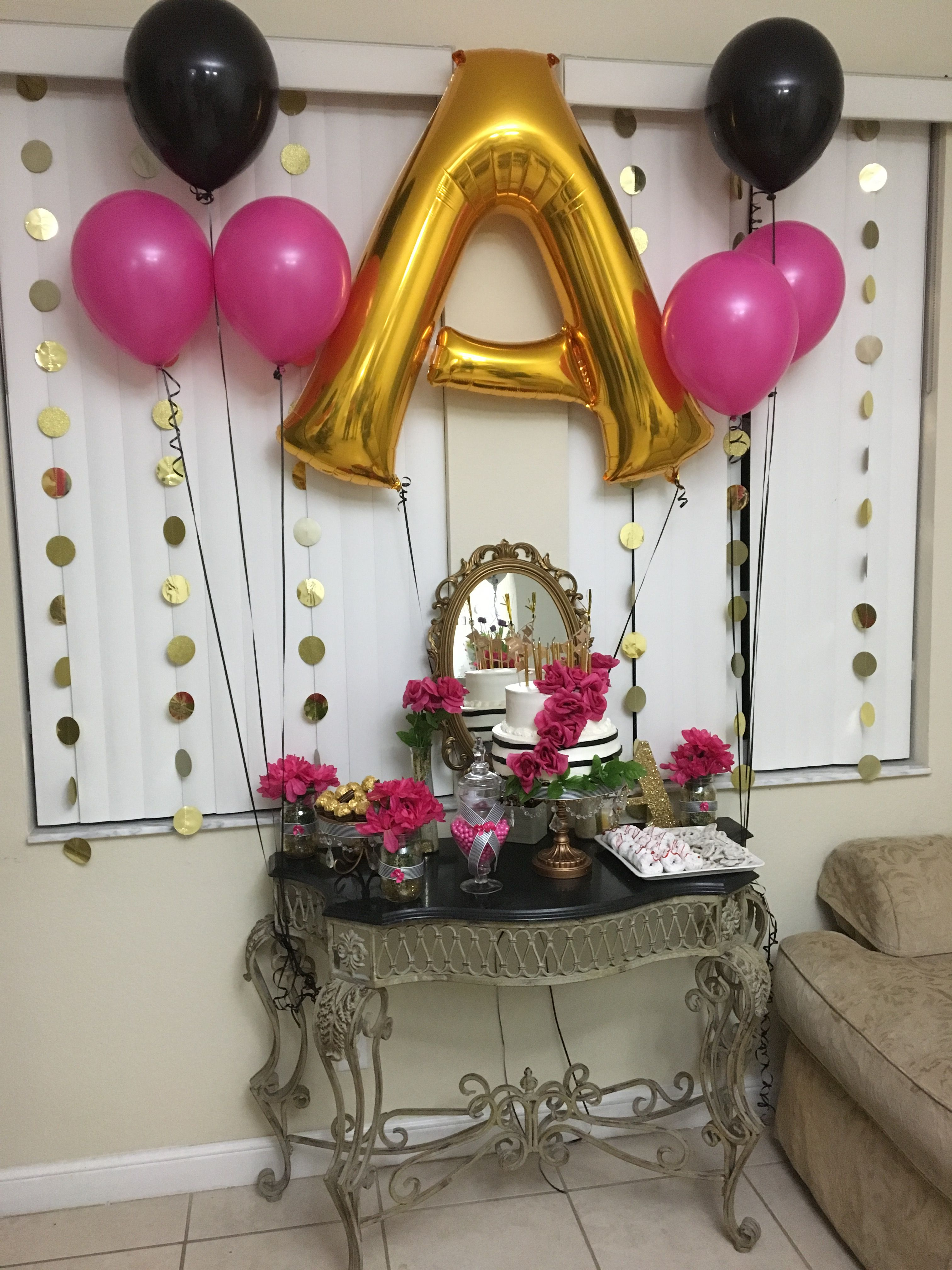 Hot Pink Gold Black And White Adult Birthday Party Kate Spade