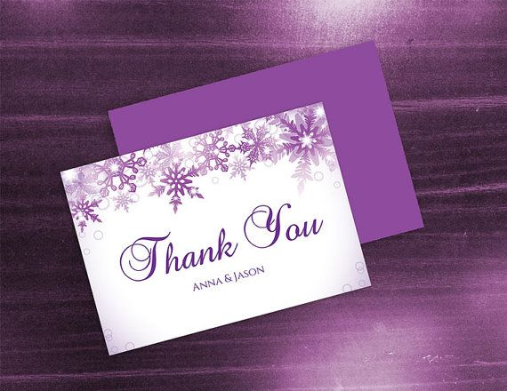 Diy Printable Wedding Thank You Card Template Editable Ms Word File 3 5 X 5 Instant Download Winter Purple Bubble Snowflakes Wedding Thank You Cards Thank You Card Template Wedding Card Diy
