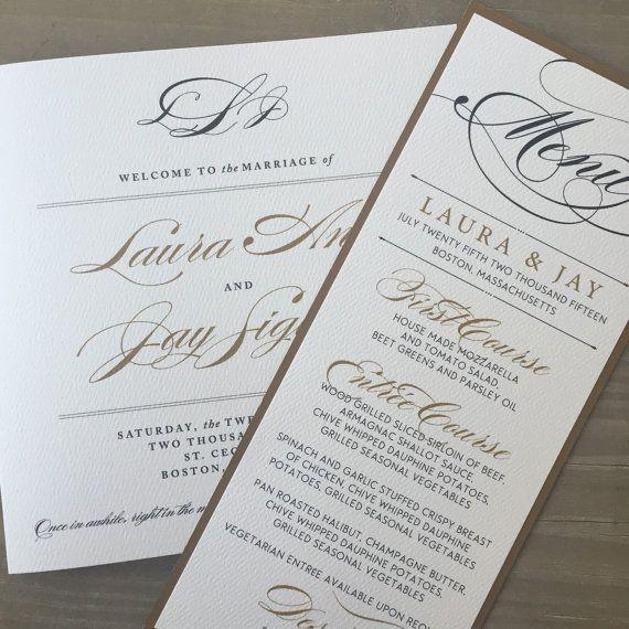 Elegant Wedding Menus And Place Cards Black Tie Script Cursive