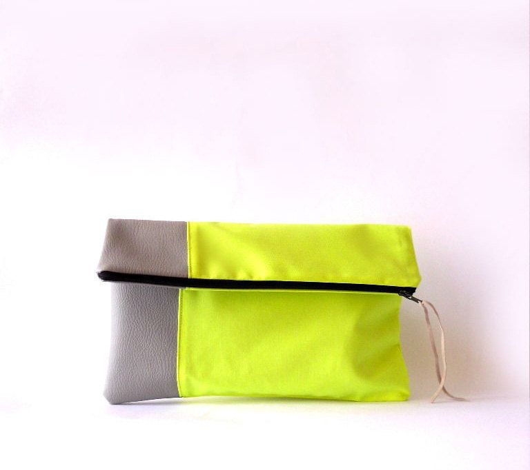 Clutch purse, Fold over.Faux leather , Neon  Fabric , Color Block. via Etsy.