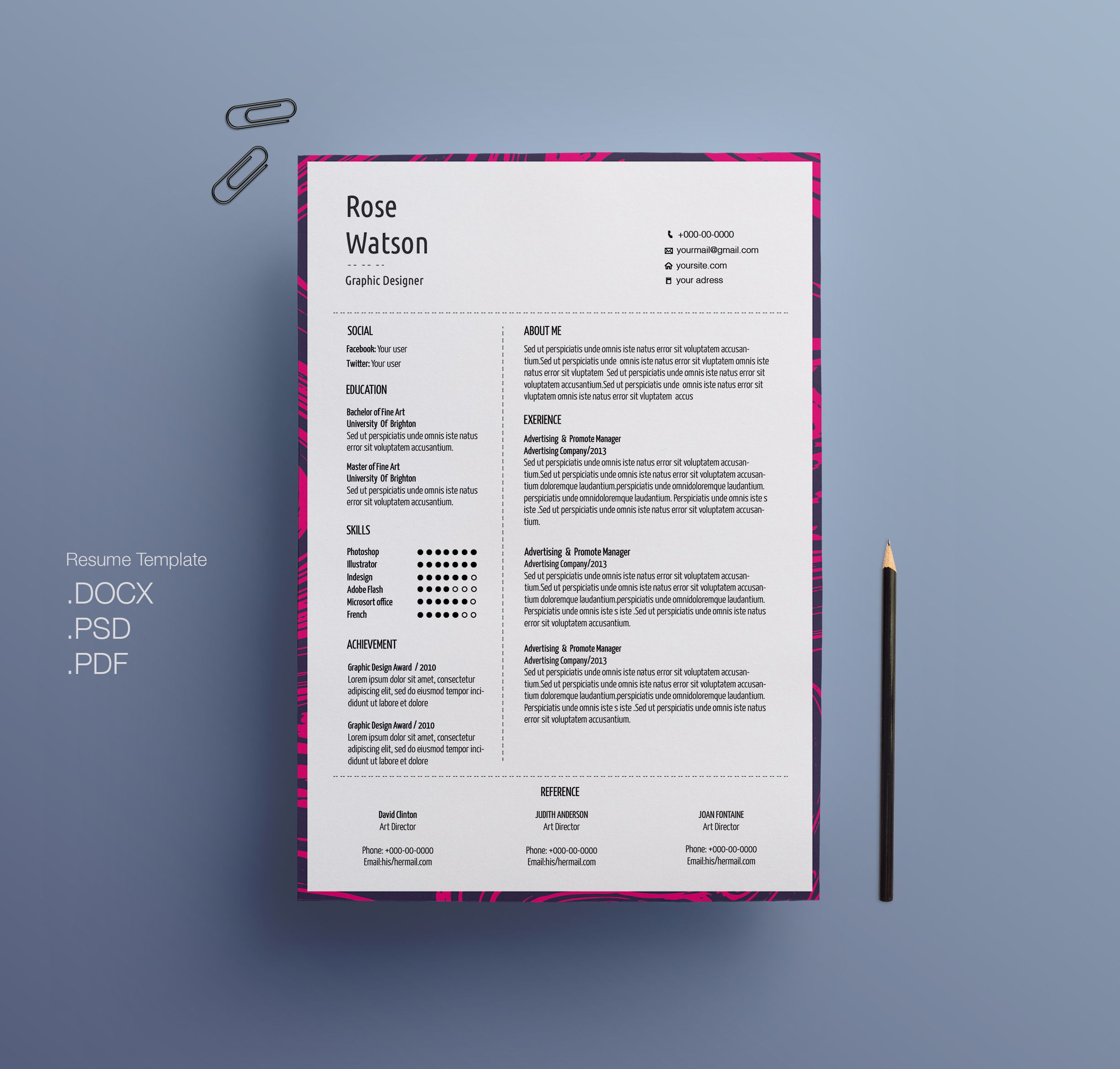 Check Out My Behance Project Marble Simple Resume Template