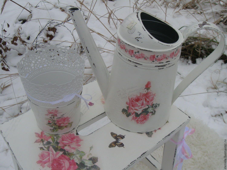 """Купить Лейка и кашпо в стиле шебби-шик """"Розы на снегу"""" - белый, розы шебби"""