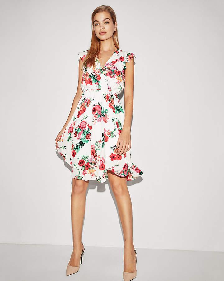 cbae05a951aab Express Floral Surplice Ruffle Midi Dress | Products | Flowy midi ...