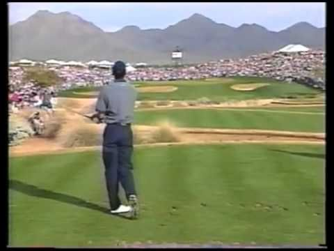 #ThrowbackThursday to one of the best holes in golf - Tiger Woods' 1997 hole in one at the 16th Hole of Phoenix Open, and the crowd go nuts. #TBT I Rock Bottom Golf #rockbottomgolf