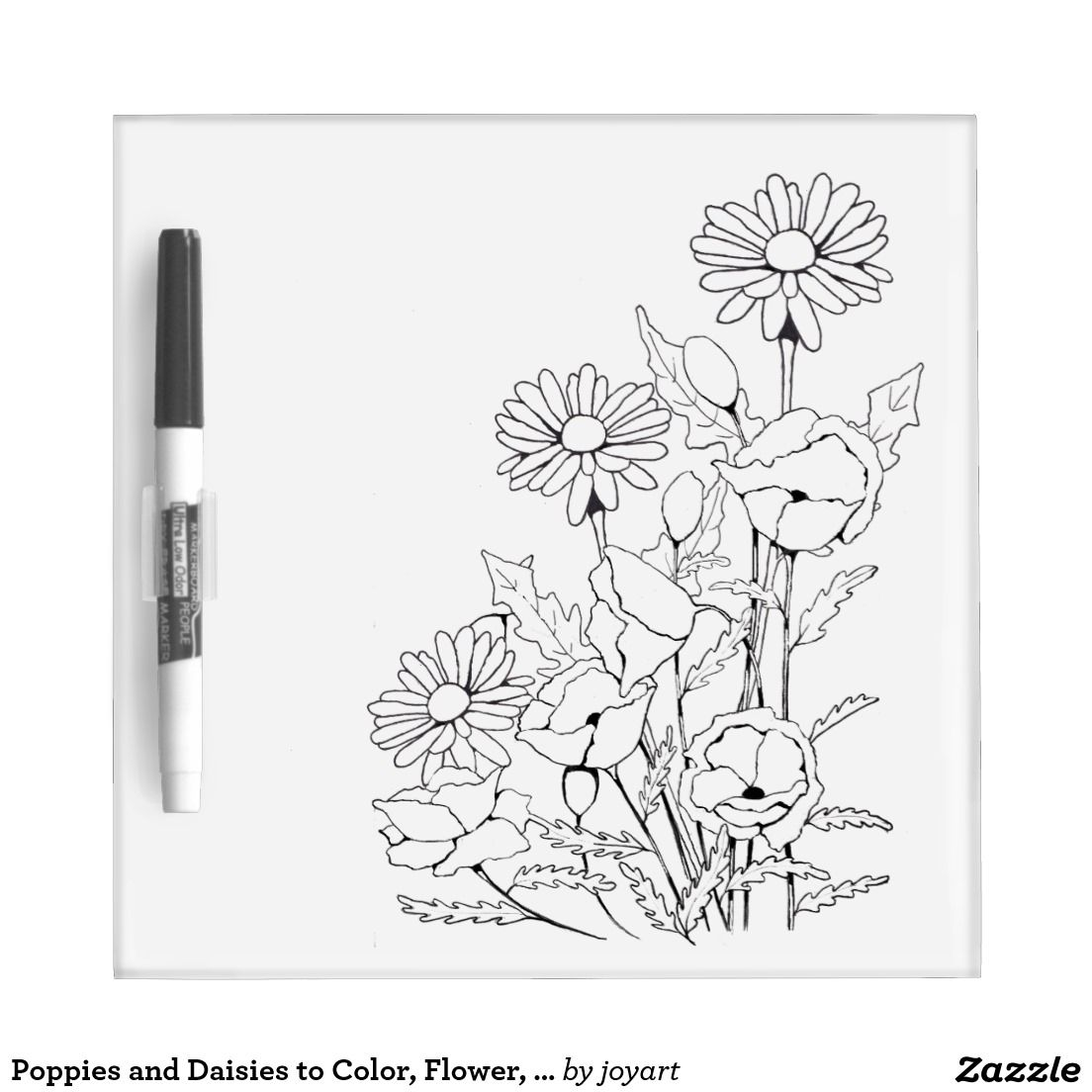 Poppies And Daisies To Color Flower Outline Art Dry Erase Board