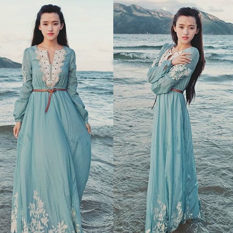 Elegant Women Fashion Vogue Chiffon Hollow Chiffon Lace Boho Long Dresses Skirt | eBay