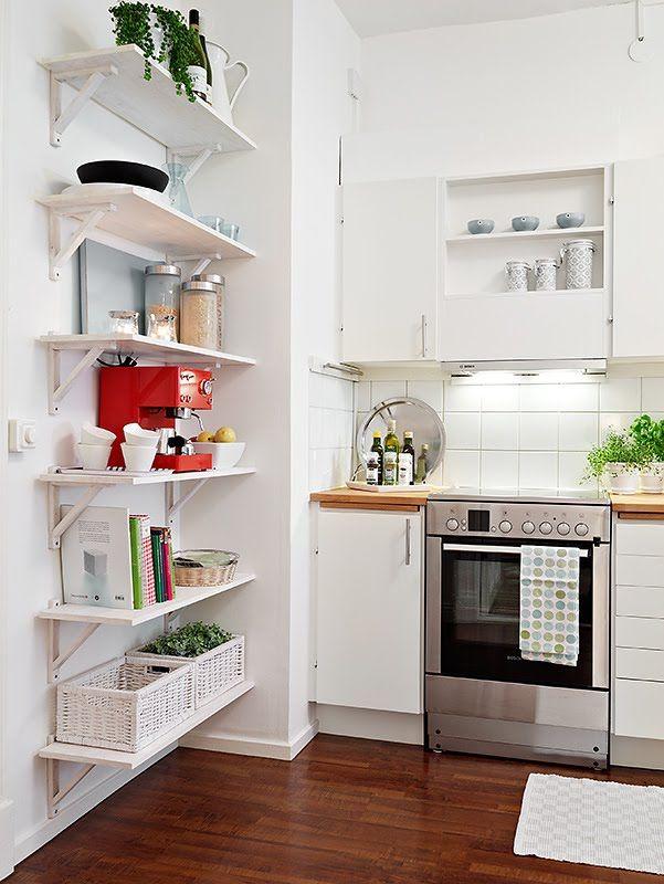 Elegant Tiny Kitchen Design for Contemporary Kitchen Shelves