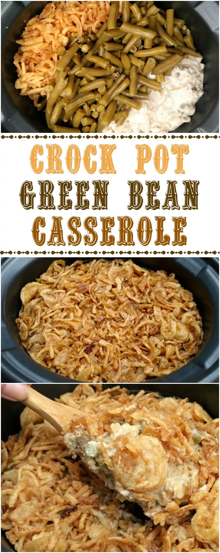 Crock Pot Green Bean Casserole | Slow Cooker Kitchen #greenbeancasserole