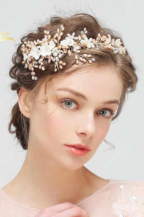 Delicate Freshwater Pink Pearl Beautiful Handmade Flower Rhinestones Hair Band-860283 #hairbands Delicate Freshwater Pink Pearl Beautiful Handmade Flower Rhinestones Hair Band-860283 #hairbands