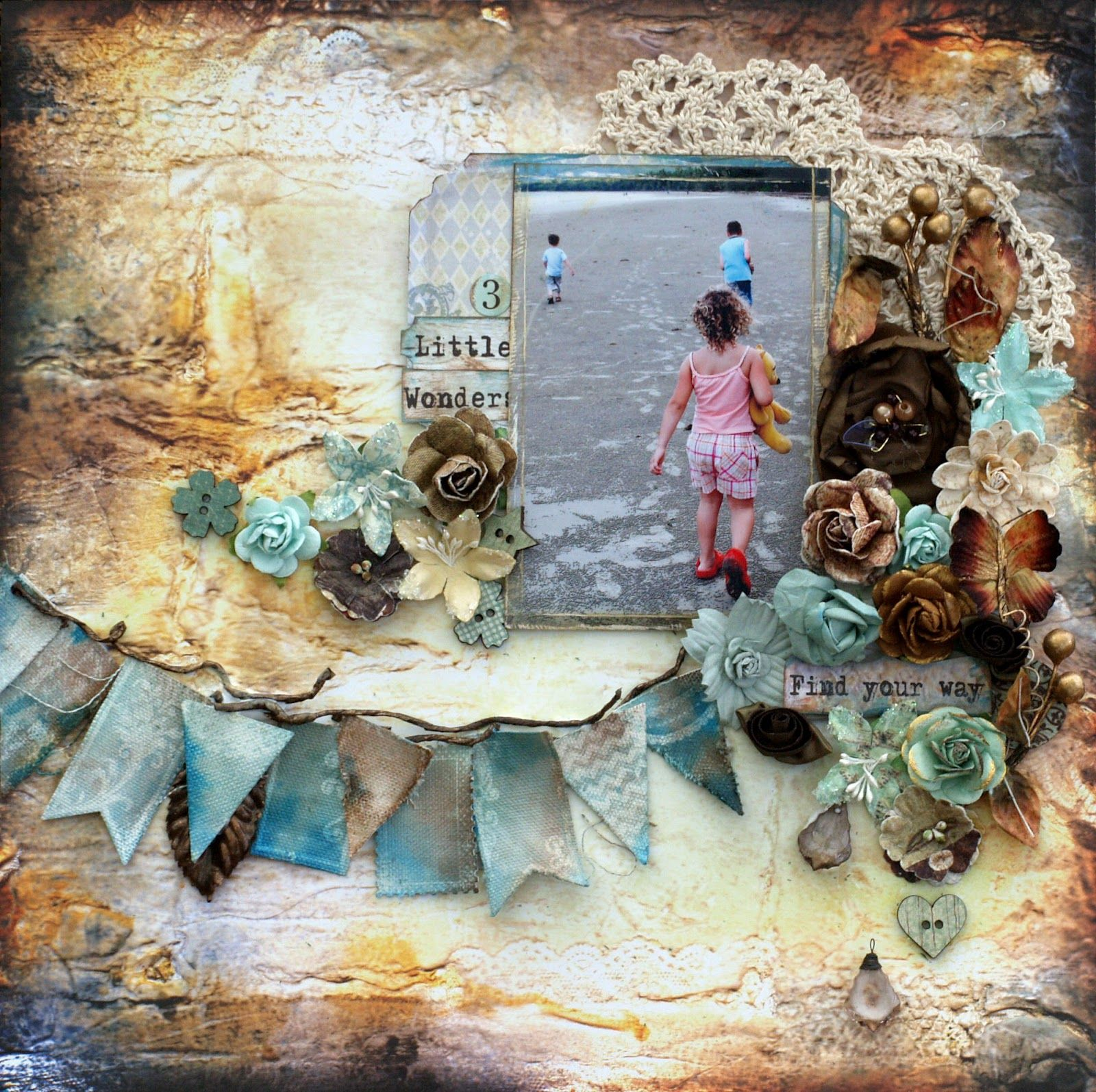 Beach scrapbook layout with flowers, flowers, paper banner, papercrafting