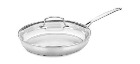 Stainless Steel Skillet With Lid E G Cuisinart 722 30g Chef S Classic 12 Inch Skillet With Glass Cover Cuisinart Cookware Stainless Steel Skillet Cuisinart