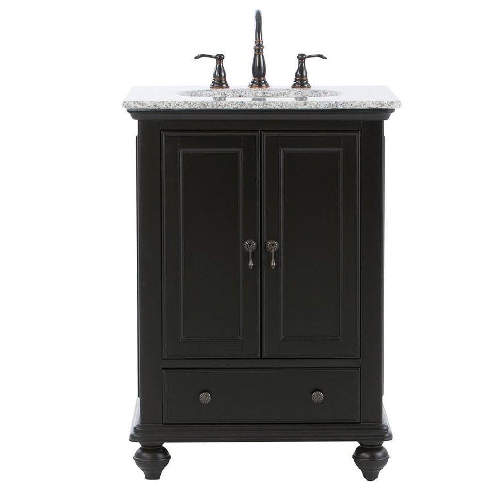 Home Decorators Collection Newport 25 In W X 21 1 2 In D Bath Vanity In Black With Granite Vanity Top In Gray 9085 Vs25h Bk The Home Depot Granite Vanity Tops Black Vanity Bathroom