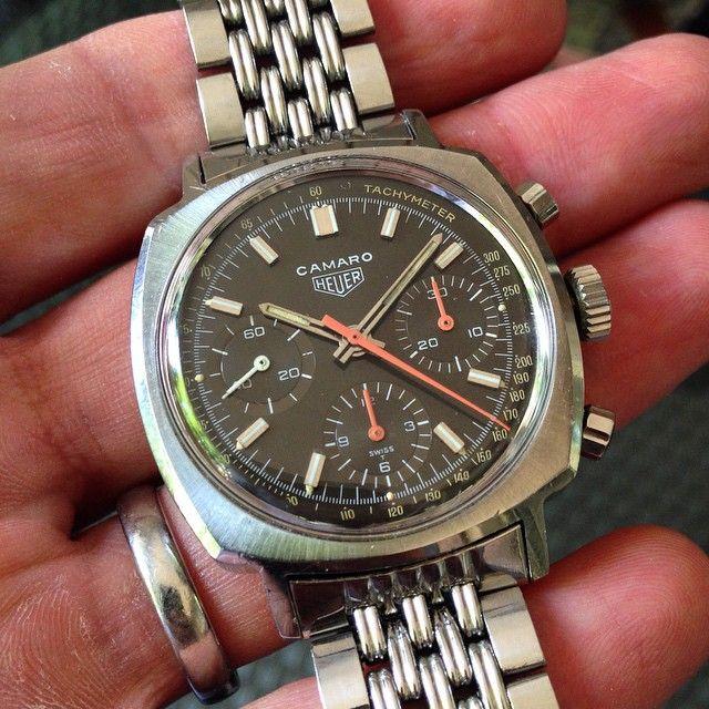 New arrival! Heuer Camaro 7220 on GF - 1 owner bought in Zurich in 1971!  #Heuer #vintageheuer #heuercamaro #chrono #chronograph #vintagechrono #vintagechronograph #valjoux72 #columnwheel #wis #womw #watch #watches #wruw #watchpic #watchporn #wristporn #watchnerd #gayfreres