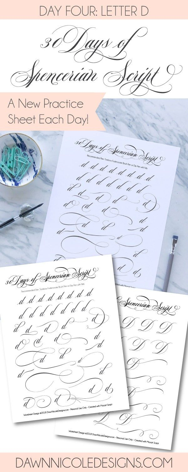 Spencerian Script Style Letter D Worksheets Worksheets 30th And