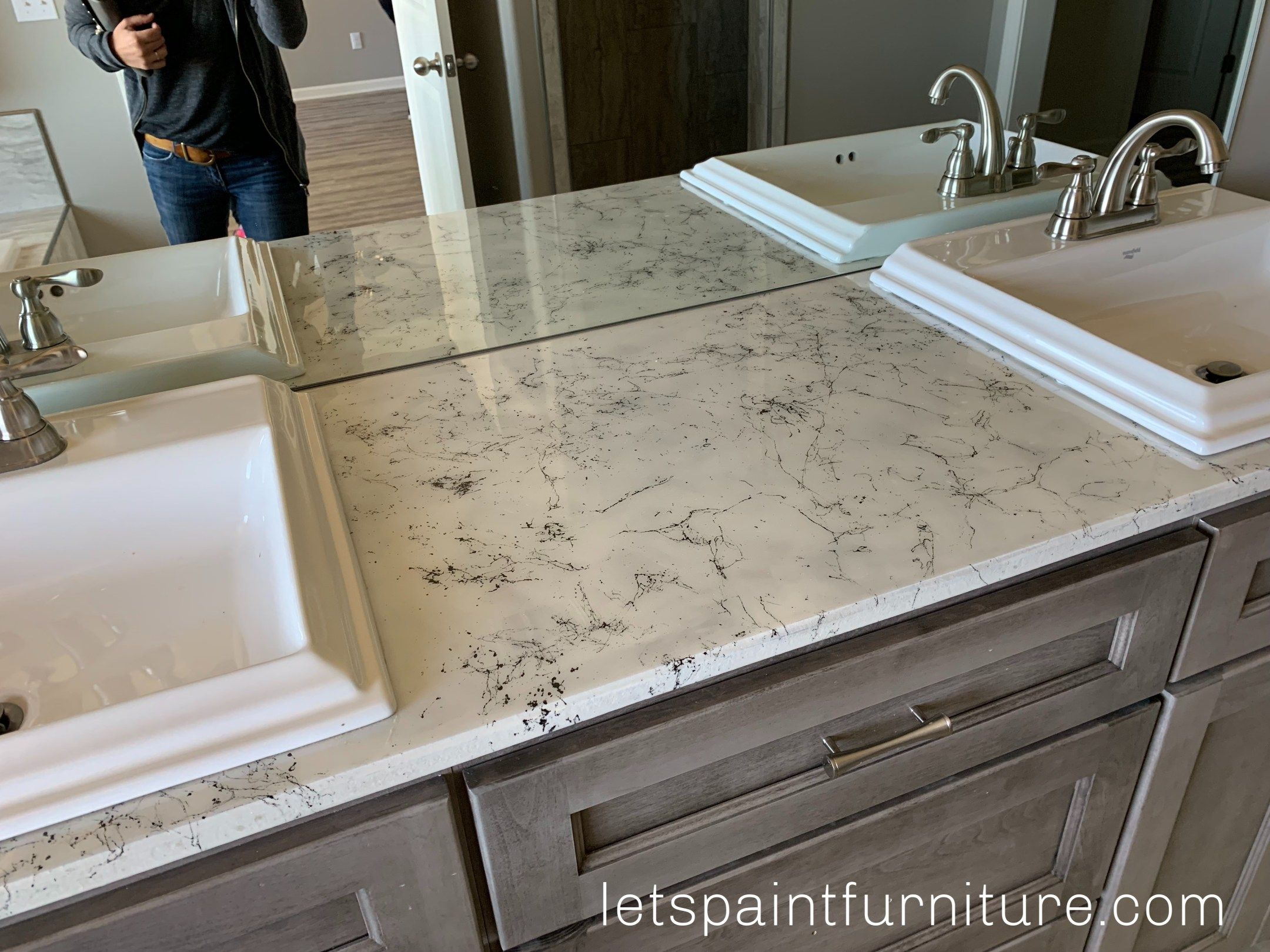 How To Faux Marble A Countertop With Epoxy Let S Paint Furniture