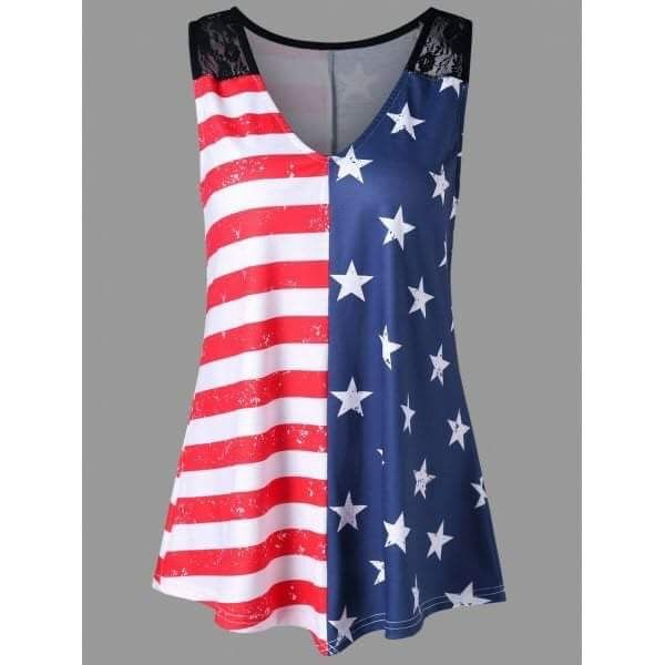 d99501ba44a NOW  18.97 FREE SHIPPING - V-Neck Plus Size American Flag Tank Top Show you