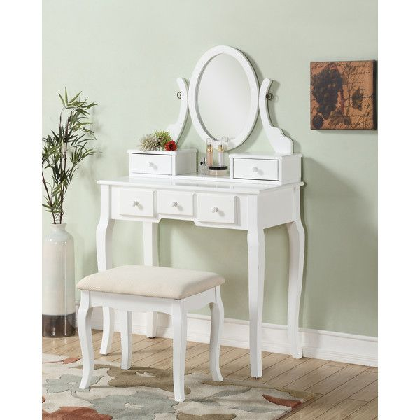 Elegant Wood Vanity Table and Stool