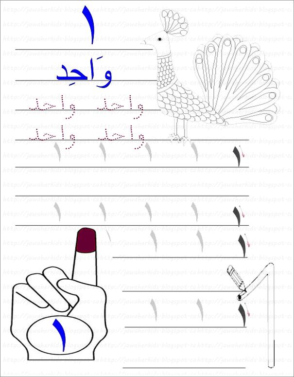Jawaherpearl Kids أوراق عمل الرقم واحد الأراقم العربية Blog Posts Blog Post