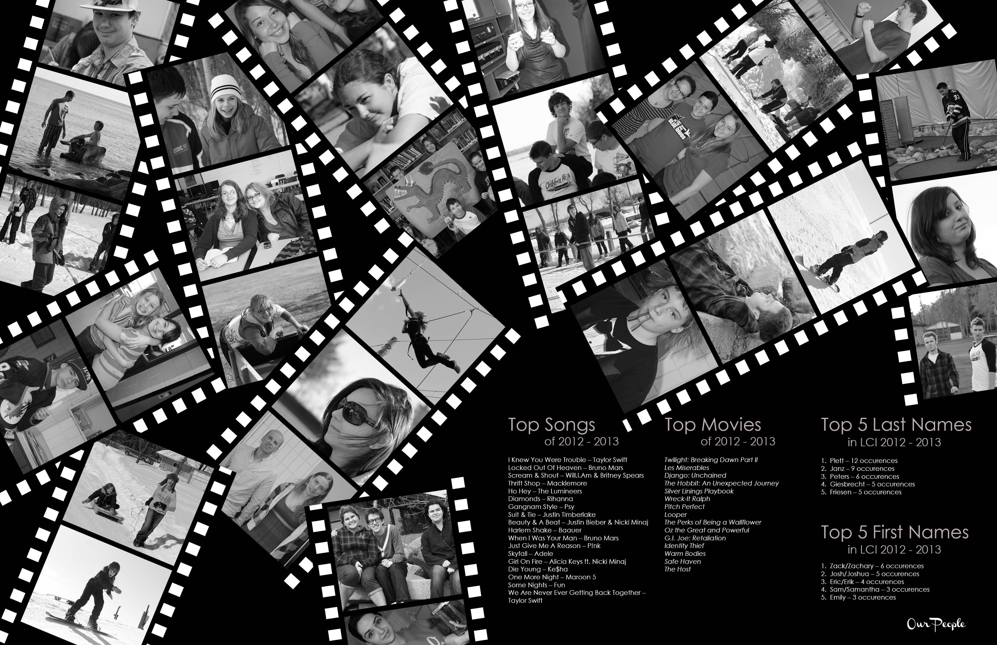 Old Fashioned Greyscale Page Made Filmstrips Using White And