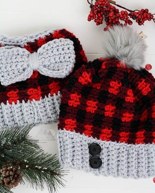 Chunky Plaid Beanie Free Crochet Pattern