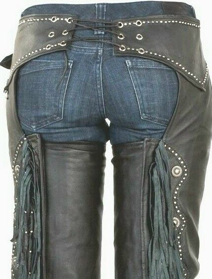 Western Fringe WICKED LADY BIKER Soft Leather MOTORCYCLE RIDING Chaps STUDS