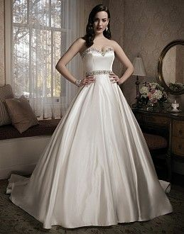Style 8680 This Circular Cut Ball Gown Has A Beaded Sweetheart Neckline And Is Accented By Silk Metallic Belt At The Natural Waistline