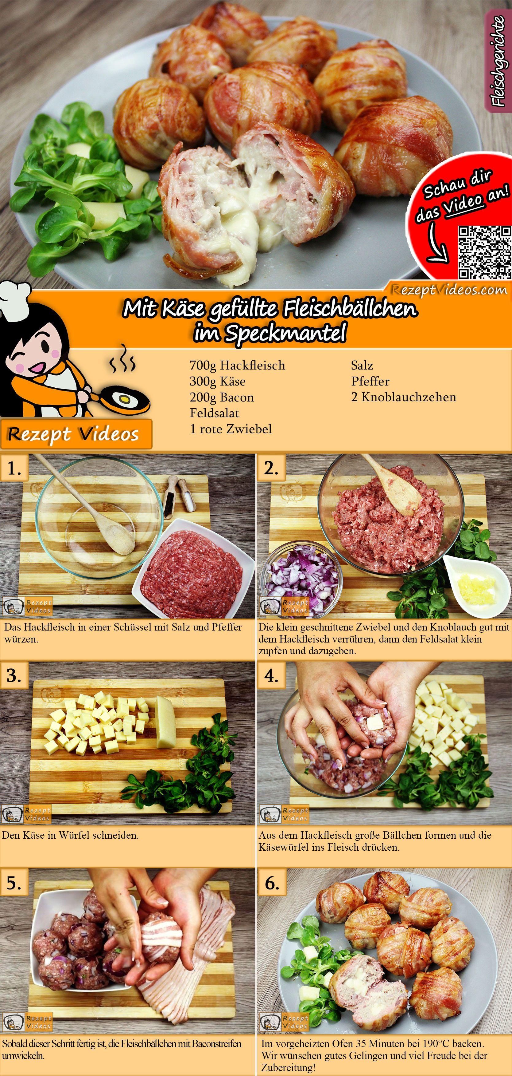 Mit Käse gefüllte Fleischbällchen im Speckmantel Rezept mit Video #meatrecipes