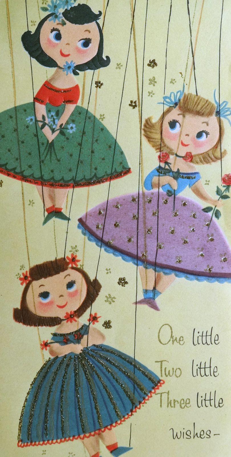 Mid Century Modern Marionette Puppet Dolls Vtg Birthday Greeting
