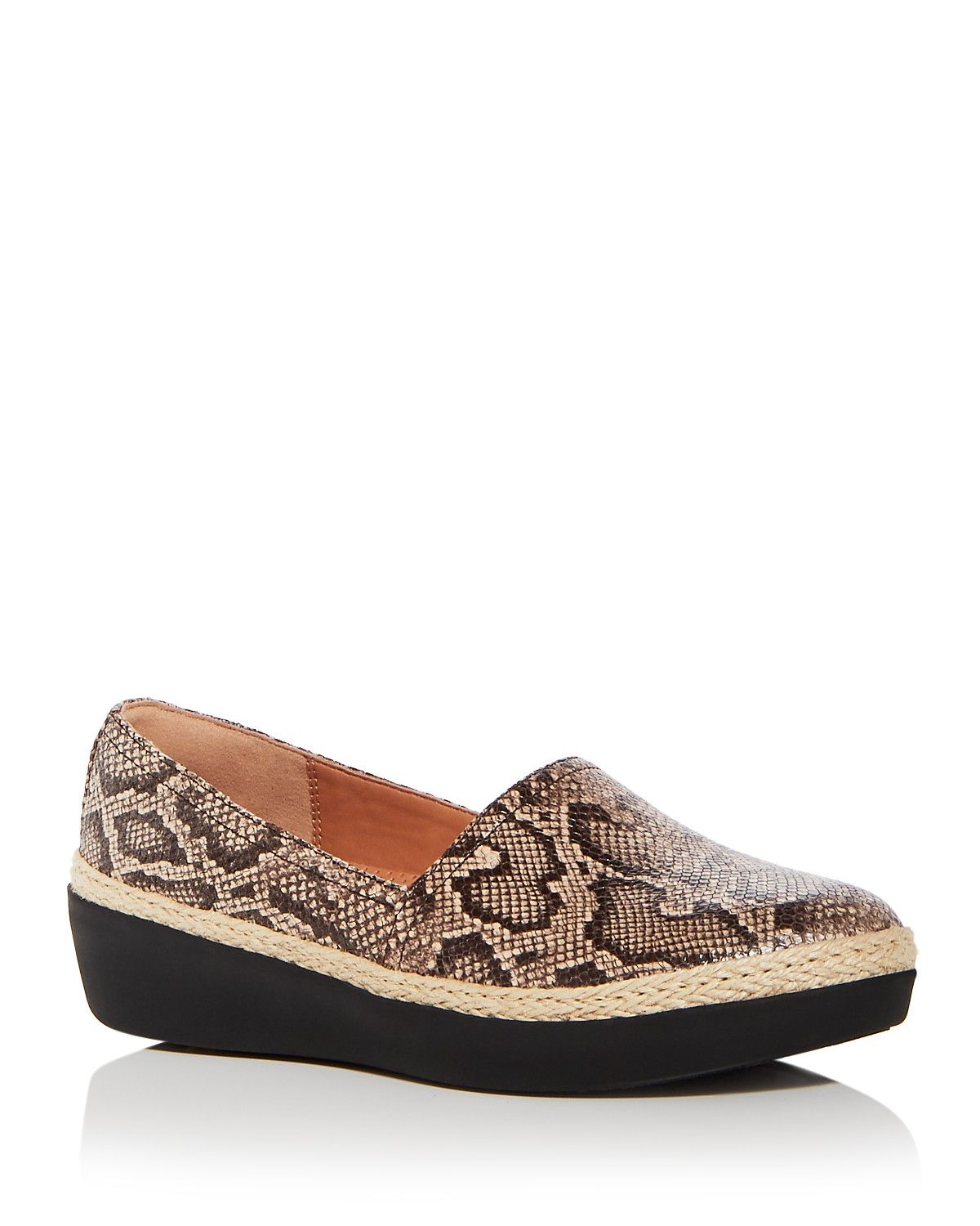 3dcca67e118ecf FitFlop Women s Casa Snake Embossed Leather Wedge Platform Loafers ...