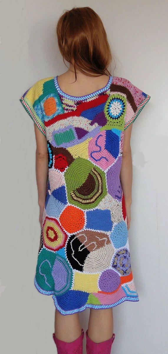 Passionnant et beau crochet patchwork hippie robe par GlamCro