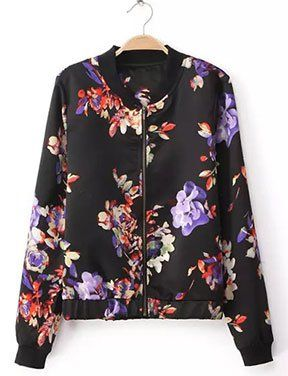 Retro Floral Printed Jacket with Zippered Closure