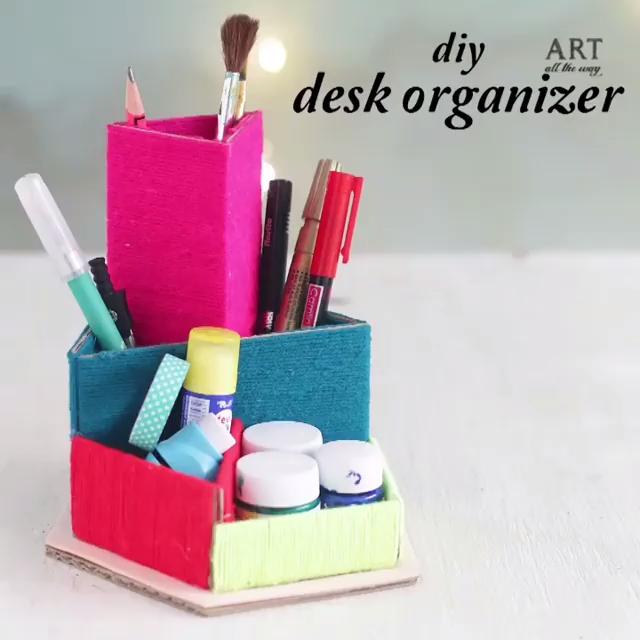 DIY COLORFUL DESK ORGANIZER -   19 diy Organization desk ideas