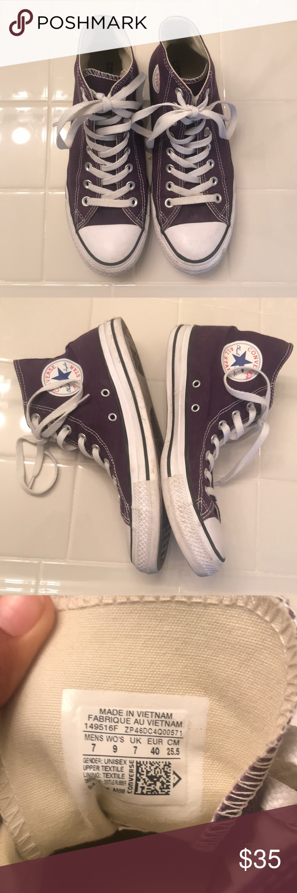 c4a3962de486 Purple High Top Converse 7M 9W Bought and worn once for a Halloween  costume. Great shape! Practically new! Converse Shoes Sneakers
