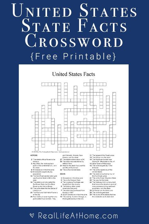 U.S. State Facts Crossword Puzzle - Free Social Studies ...